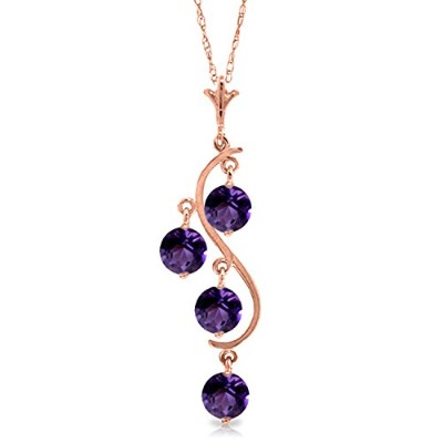 K14 Yellow, White, Rose Gold Necklace with Amethyst Curved Drop Pendant