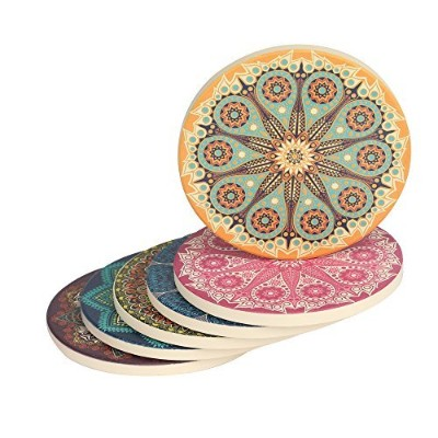 Drink Coasters, 6-Piece Absorbent Stone Non Slip Spills Coasters set with Cork Base -Protect Your...
