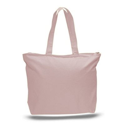 (Set of 3, Light Pink) - Zip Top Heavy Canvas Tote Bag with Bottom Gusset, Light Pink, Set of 3