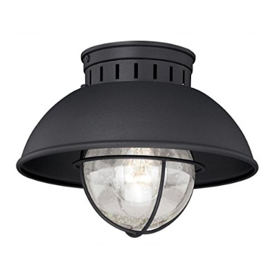 (Textured Black Finish) - Vaxcel T0142 Harwich Outdoor Flush Mount, 25cm , Textured Black Finish