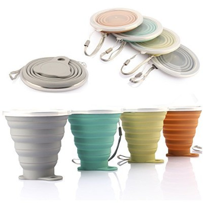 Me。ファンシリコン折りたたみ可能な旅行カップ–シリコン折りたたみキャンプCup with Lids–Expandable Drinking Cup Set–BPAフリー、ポータブル...