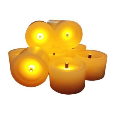 Flameless Candles with a構築でタイマーReal Wax FauxブラックWickのセット6電池式Romantic円筒アイボリーキャンドル–Great Gift
