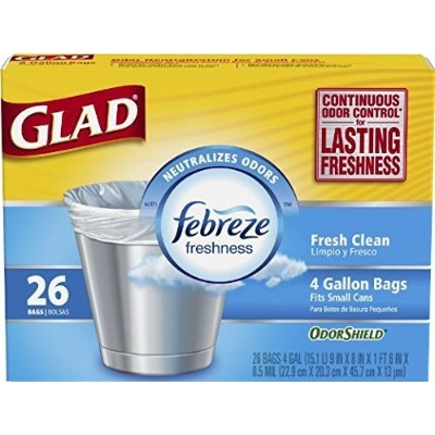 Glad Small Garbage Bags with Odor Shield, 4 Gallon 26 bags by Glad