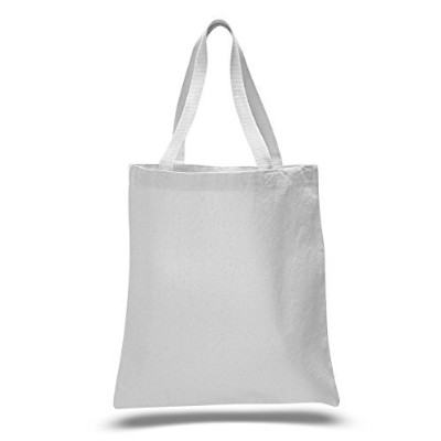(White) - Promotional Priced Heavy Cotton Canvas Shopping Blank Tote Bag Art Craft