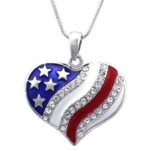 cocojewelry 4th of July Patriotic USA American Flagハートペンダントネックレス
