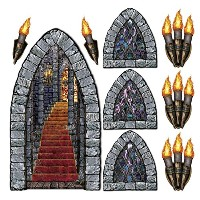 Beistle 00912印刷Stairway, Window and Torch Props Pkg of 1 00912