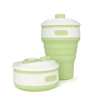 Collapsible Cup with Lid–C cltein BPA Free食品グレード電子レンジ安全旅行マグ、12oz軽量シリコンポケットサイズで折りたたみ可能なCup with...