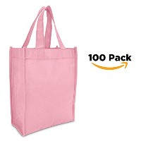 "DALIX 10 "" MiniショッピングTotes Small Resuseableバッグレディースと子(ブラックピンクレッドロイヤルブルー) S ピンク ST1081-PINK-100 PACK"