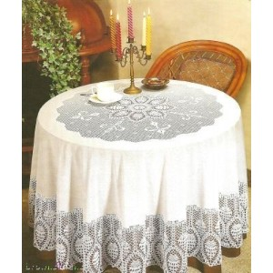 New crochet vinyl lace tablecloth, 70 round, bone beige by Better Home
