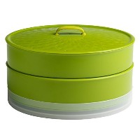Chef'n SteamSum Stackable Stovetop Wok or Microwave Steamer (10-Inch, Green) by Chef'n