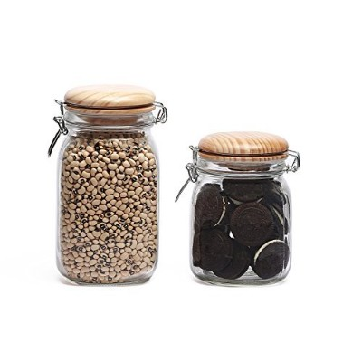 Glass Canister Jars, Hermetic, Bail and Trigger, Airtight Lids - For Kitchen Counters, Flour, Sugar...
