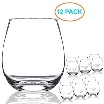 Chef 's Star 15オンスshatter-resistant Stemlessワイングラスセット Clear 15 oz (12 Pack) クリア