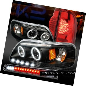 テールライト 97-03 F150 Black Halo Projector Headlights+Red Lens Tail Lamp+Smoke 3rd Brake 97-03...