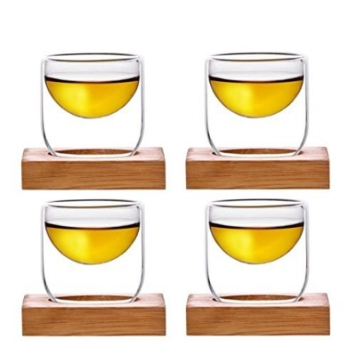 iRSE 4 Small Glass Tea cups with bamboo tray for each cup, for tea shots, Chinese tea cups, hot tea...
