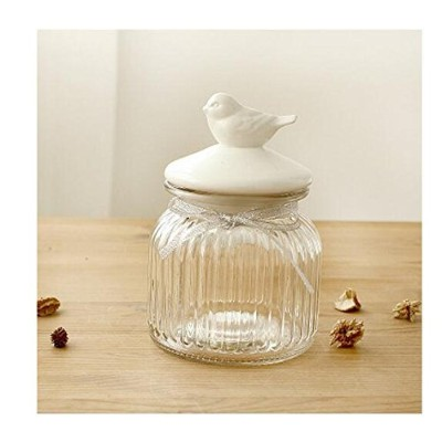 (Bird - Small) - Glass Food Storage Canister Kitchen Storage Jar with Ceramic Airtight Lid for...