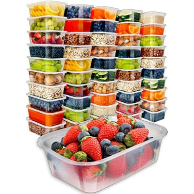 [50pk,740ml] Food Storage Containers with Lids - Food Containers Meal Prep Plastic Containers with...