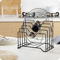 (Black) - Pot Lid Holder,Lid Organiser ,Pot Lid Rack Storage,Pan Lid Cover Cabinet Pantry Holder...