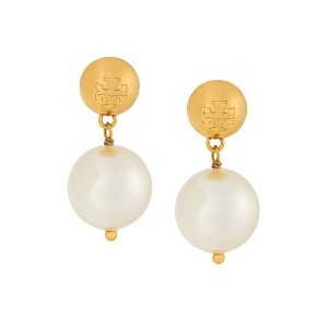 Tory Burch crystal pearl drop earrings - ホワイト
