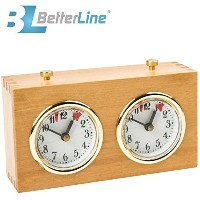 Professional Analogue Wood Chess Clock Timer - Wind-Up, No Battery Needed By Better Line