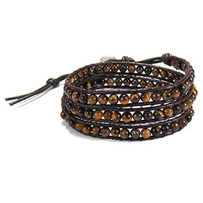 ダークブラウンMuse Tiger 's eye-cottonワックスrope-leather with Base Metal Clasp Tribalラップブレスレット