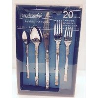 Italian Collection 'Luxor' 20-Piece Premium Surgical Stainless Steel Silverware Flatware Set 18/10,...