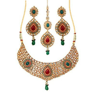 Touchstone Indian Bollywood排他的再作成ロイヤルムガルEra Inspired Faux Ruby Emerald Kundan Polki Look Heavyブライダルデ...