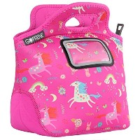 (UNICORNS) - Unicorn Lunch Bag for Girls with Name Label Pocket Insulated Neoprene Tote Cute Pink...