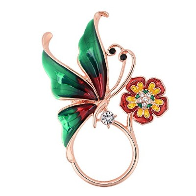 Guandu 3色Pretty Butterfly withクリスタルフラワー磁気Eyeglass Holder for Femaleクリスマスギフト