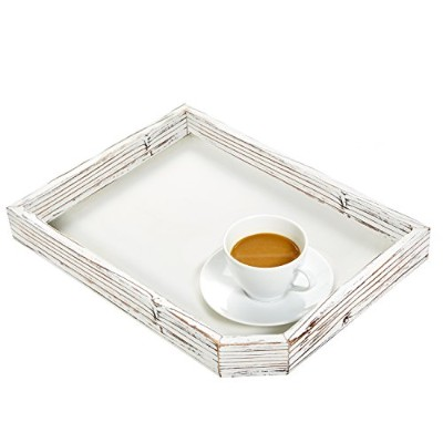 (1 Tray) - Rustic Farmhouse Style Rectuangular Wood Serving Tray with Distressed Whitewash Finish -...