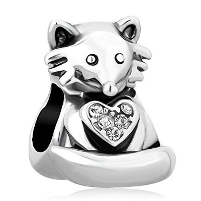 Valentines Day Gifts Charmsstory Cute Fox Holding Theハートビーズチャーム、ヨーロピアンブレスレット