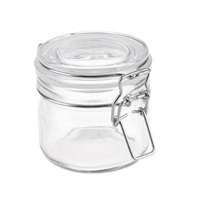 Beautyflier 200ml Glass Storage Jar Round Sealed Canister with Metal Clasp Lid Food Display...