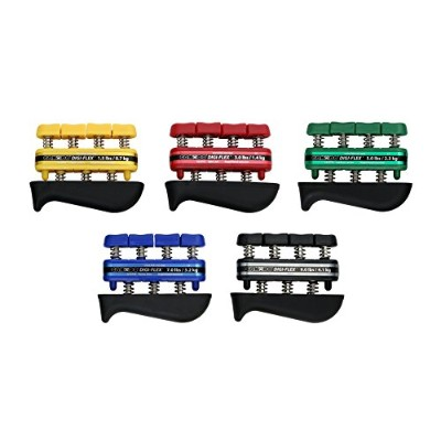 Cando Physical Therapy Digi-Flex Hand Exerciser Set Of 5 Yellow, Red, Green, Blue, Black, No Rack...