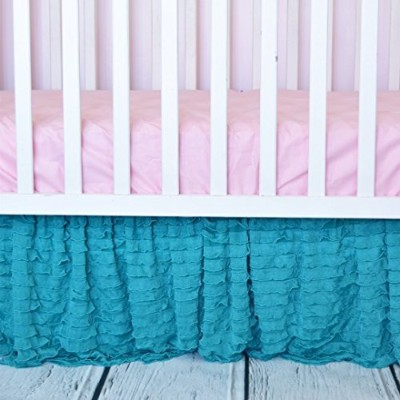 Crib Skirt, Mint Green Dust Ruffle for Nursery Bedding Bedskirt Decor by A Vision to Remember