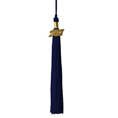 (Navy) - Graduation Tassel With 2016 Gold Year Charm And 2017 Silver Year Charm Grad Days(Navy)