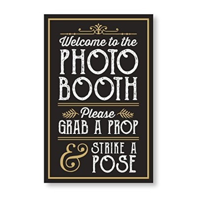 Perfect Photo Booth Prop Sign withイーゼルBackerスタンド、Great for DIYフォトブース、グラブA Prop Strike a Pose写真ブースサイン...