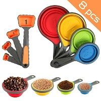 Nlife 8pcs CollapsibleシリコンMeasuring Cups Measuring Spoons Perfect for Pet Food、コーヒー、補助食品、小麦粉、穀物...