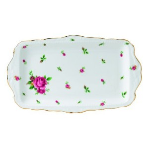 Royal Albert New Country Roses Formal Vintage Sandwich Tray, White by Royal Albert
