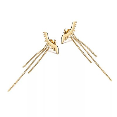 Sophie Landチタンスチール角度Wing Tassel Back Hanging Earrrings for Woman ゴールド