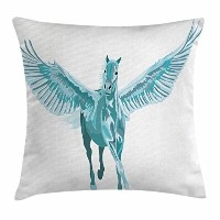 (41cm W By 41cm L, Multi 1) - Horse Decor Throw Pillow Cushion Cover by Ambesonne, Artistic Blue...