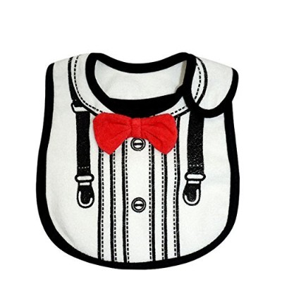Lovely Suits Style Baby Cotton Drool Bibs with Magic Stick for Babies and Toddlers (White) by...