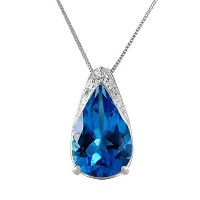 """K14 White Gold 18"""" Necklace with Blue Topaz Pendant"""