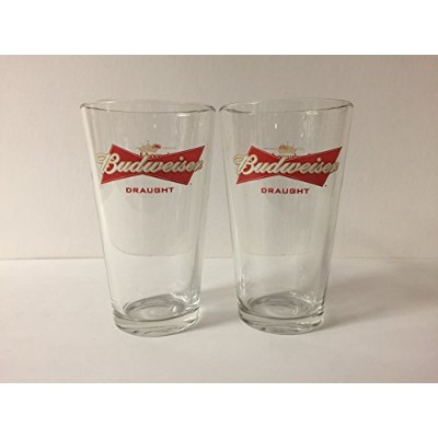 Budweiser Draught Beer 16oz Pint Glass – ブナ材Aged – 2 pk