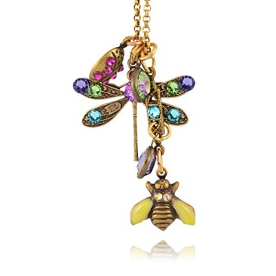 Anne Koplik Dragonfly and Bee Jumbleネックレス、ゴールドメッキペンダント
