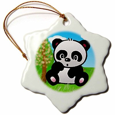 3drose Kids Stuff動物 – パンダ – Ornaments 3 inch Snowflake Porcelain Ornament orn_5732_1