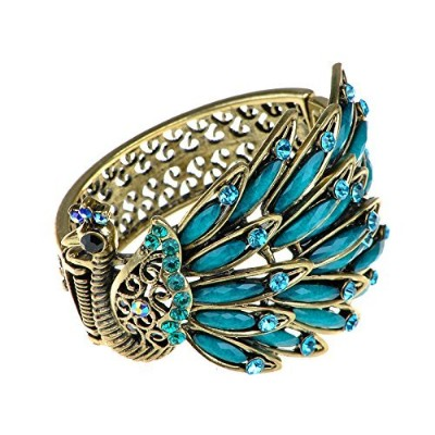 (Blue) - Alilang Womens Antique Golden Tone Peacock Bracelet Bangle With Turquoise Blue Gems