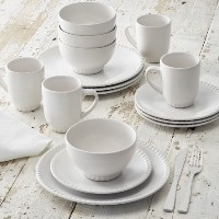 Better Homes and Gardens 16-piece Stonewareビーズ付き食器セット、ホワイト