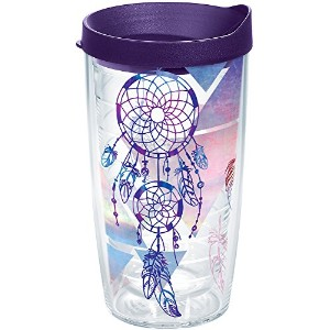 Tervis 1216408トライバルドリームキャッチャーTumbler with Wrap and Royalパープル蓋16オンス、クリア