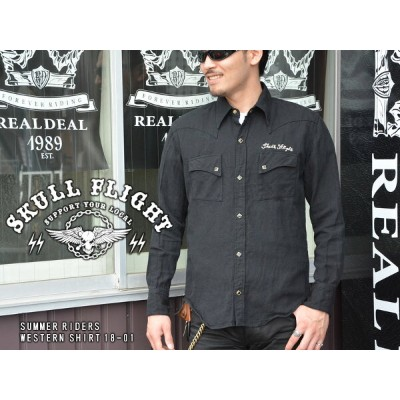【SKULL FLIGHT/スカルフライト】長袖シャツ/SUMMER RIDERS DENIM WESTERN SHIRT 18-01★REALDEAL