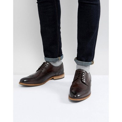 エイソス 革靴・ビジネスシューズ ASOS Brogue Shoes In Brown Leather With Natural Sole Brown
