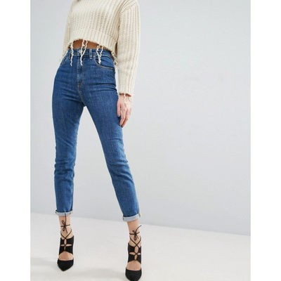 エイソス ジーンズ・デニム ASOS FARLEIGH High Waist Slim Mom Jeans In Harley Flat Blue Wash Darkwash blue